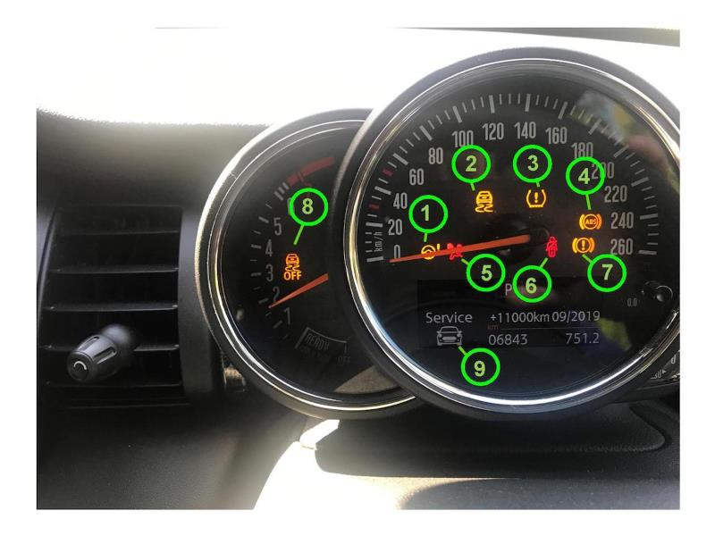 Dashboard Warning Lights On A Cur Model Mini Cooper S
